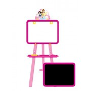 Disney Princess 5 in 1 double sided learning easel for kids/Height adjustable white & black board/Multifunctional writing board/ White board to draw/ chalk board to write/ activity sheets to develop skills/ mind development toys/ Multi color toys for kids