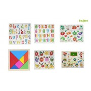 Baybee Premium Wooden Puzzles - Set of 6 for attractive price discount- Wooden Capital Letter Puzzle, Small Letters, 0 to 20 Puzzle, Geometric Shape Sorter, Fruits Puzzle, Classroom Puzzle , Tangram Puzzle