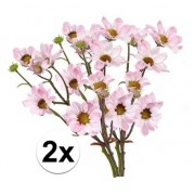 Bellatio flowers & plants 2x Licht roze margriet kunstbloemen tak 44 cm