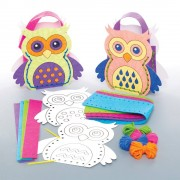 Baker Ross Owl Paper Hand Bag Kits - 4 Sewing Kits For Kids. Easy Owl Crafts. Size 17cm.