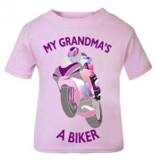 L-Pink purple My Grandma A Biker motorcycle childrens kids t shirt 100% cotton