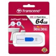 64GB USB Flash Drive, Transcend JetFlash 790, USB 3.1, бял