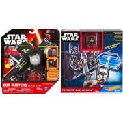Hot Wheels Star Wars TIE Fighter Blast-Out Battle Play Set & Box Busters Death Star Mini Spaceship Set + Action toy Bundle 2-Pack