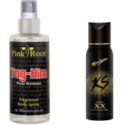 Kamasutra Double XX Perfumed Deo Spray 120ml and Pink Root Tag-Him Pour Homme Fragrance body Spray 200ml Pack of 2
