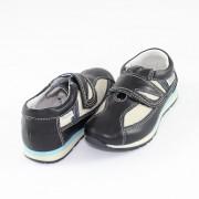 Pantofi piele naturala copii - bleumarin, bej, Marelbo - C03 -AlbastruBej