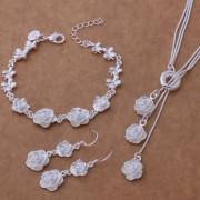 Set elegant placat argint colier, bratara si cercei trandafiri