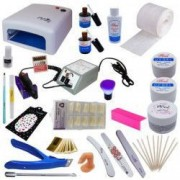 Kit unghii false cu lampa UV freza electrica geluri de constructie si accesorii + CADOU casti telefon Earpods