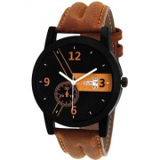 New Lorem Brown Day And Date Dile Brown LeatherBelt Professional Analog Watch For Men Boys