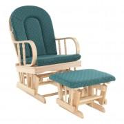 Pihenőfotel zsámollyal, bükkfa, zöld szövet, RELAX GLIDER 87107
