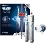 Set periute de dinti Oral-B Genius Pro 8900, Smartring, 5 programe, 3 capete, Conectivitate Bluetooth, Trusa de calatorie cu suport pentru smartphone (Argintiu)