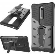 Para Nokia 6 (2018) PC + TPU Dropproof Sniper Híbrido Nuevo Estuche Protector Con 360 Grados De Rotacion Titular (negro)