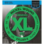 D'Addario EXL220-5 Nickel Wound .040-125 Saiten E-Bass