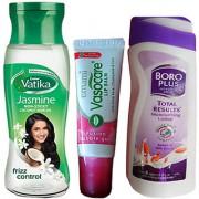 Winter Combo Pack Dabur Vatika Jasmine Hair Oil (100 ml) + Boro Plus Lotion (8-12 gm) + Lip Balm 1 Pc