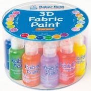 Baker Ross Fabric Paint - 18 x 18ml tubes 3D Fabric Paint in matt, pearlised and glitter finishes. Assorted colours. Easy to apply, ideal for Painting on Fabric