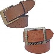Sunshopping men's brown leatherite needle pin point buckle combo(PSD-TB-PRM-2)