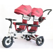 Tricikl Playtime 412-1 TWINS sa dva sedista i lanenim platnom - Crveni