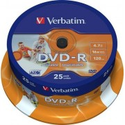 Verbatim DVD-R, 16x, 4,7GB/120min, 25-pack spindel, AZO, printable
