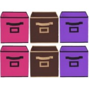 Billion Designer Non Woven 6 Pieces Small Foldable Storage Organiser Cubes/Boxes (Coffee & Pink & Purple) - CTKTC35213 CTLTC035213(Coffee & Pink & Purple)