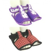 Neska Moda Pack Of 2 Baby Boys Girls Black and Purple Cotton Velcro Anti Slip Booties For 0 To 12 Months