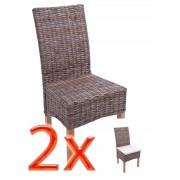 2x Esszimmerstuhl Korbstuhl Stuhl M44, Kubu-Rattan ~ Variantenangebot