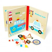 YJH Vehicle Wooden Jigsaw Puzzle for Kids (Consists of 6 Pages with 6 Puzzles) Preschool Learning and Education Toys
