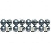 Merkloos 16x Grijsblauwe kerstballen 10 cm kunststof mat/glans - Kerstbal