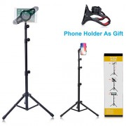 """T-Sign Reinforced IPad Tripod Stand Mount - Foldable Floor Tablet Holder, Height Adjustable 360 Rotating Stand for iPad Mini/Air and More 7"""" to 12"""" Tablets, Carrying Case and Phone Holder As Gifts"""