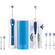 Periuta de dinti electrica Oral-B Pro 2000 Cross Action, Curatare 3D + Irigator Bucal Oral B OxyJet OC20, 4 capete, Alb