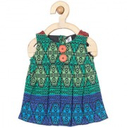 yellow Duck Green Cotton Sleeveless Printed Mid Thigh Length Casual A- Line Dress For Girls
