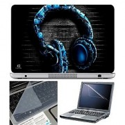 FineArts Laptop Skin - Blue Headphone With Screen Guard and Key Protector - Size 15.6 inch