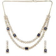 Jewels Galaxy Elegant AAA Zircon Delicate Blue Crystal Gold Plated Traditional Light-Weight Necklace Set For Women/Girls