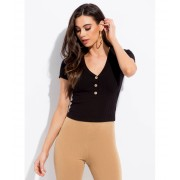 CheapChic Get Going Ribbed Button-front Top Black