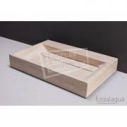 Forzalaqua Bellezza Wastafel 80 cm Travertin Gezoet 80,5x51,5x9 cm 1 wasbak 2 kraangaten