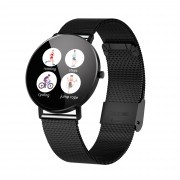 F25 Color Large Round Touch Screen Heart Rate Monitoring Waterproof Smart Watch [Metal Strap] - Black