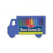 Set 12 creioane colorate triunghiulare Truck Melissa Doug