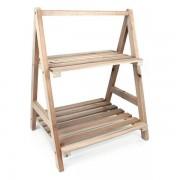 Pantofar tip etajera cu 2 rafturi din lemn masiv 36 x 30 x 46,5 cm