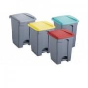 Helit poubelle à pédale, 45 litres, gris/jaune clair, carrée