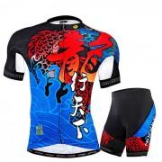 Pantalones cortos de manga corta de los hombres del verano de NUCKILY que completan un ciclo Jersey - Azul (XXL)