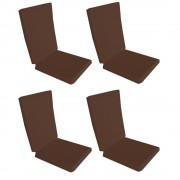 Set 4 perne decorative pentru scaun de bucatarie cu spatar, dimensiune sezut 42x40 cm, spatar 42x50 cm, culoare maro