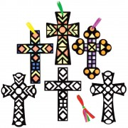 Cross Fuzzy Art Colour-in Decorations (Pack of 10)