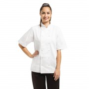 Whites Chefs Clothing Whites Vegas Unisex Chef Jacket Short Sleeve White - L Size: L