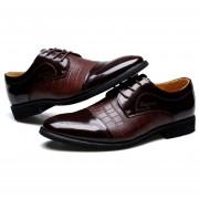 Zapatos Hombre De Vestir Y Ecocuero Mezclado Con Cordón - Marrón