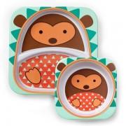 Skip Hop Zestaw jedzeniowy dla dzieci talerz dzielony + miska - naczynia dla maluchów Zoo Jeż,