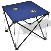 vidaXL Foldable Camping Table Blue