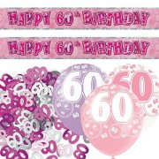 Balloons and Party Rosa Plata SPARKLE 60th cumpleaños Banner Party Decoración Pack Kit Set