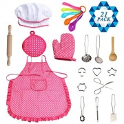 SOTOGO 21 Pieces Kids Chef Set Children Cooking Play Kids Cook Costume with Utensils for Boys & Girls