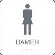 """Taktil skylt """"Toalett Damer"""" Vit"""