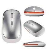 LAVAFOX Wireless Mouse, 2.4Ghz Mini Ultrathin Optical Wireless Mouse with Nano Receiver For Laptop Desktop Computer Pc Tablet (Silver)