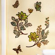 Decoratiune autocolanta perete Flori si fluturi