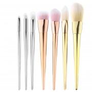 Louiwill Set De Pinceles Cosméticos De Maquillaje Profesional De 7 Piezas En Polvo Para Rubor (Silver & Amp; Gold & Amp; Rose Gold)